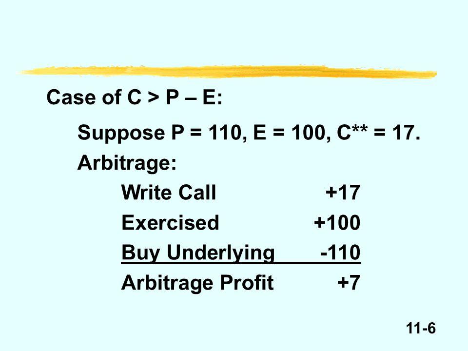 11-7 Value of call option before expiration, E = $100 P E e.g., P = 90P = 100P = 110 C > 0C > 0C > P – E e.g., C > 10