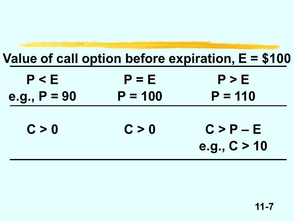 11-38 Arbitrage if C < P – ED Suppose P = 110, E = 100, D =.98. P – E = 10. P – ED = 12.