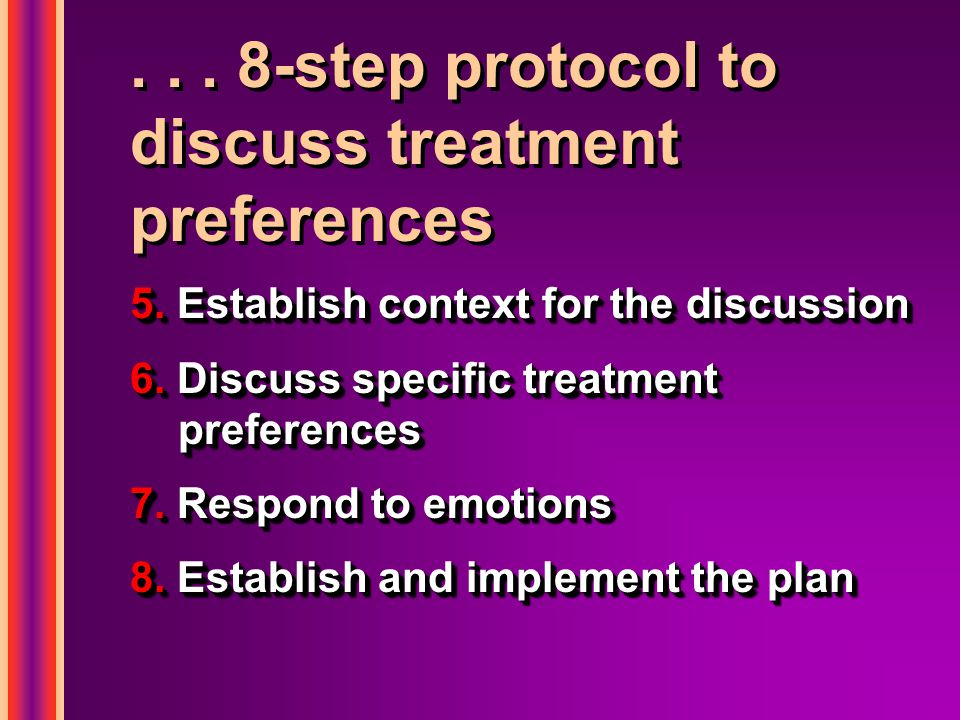 ... 8-step protocol to discuss treatment preferences 5.