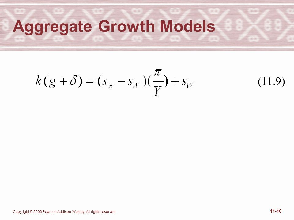 Copyright © 2006 Pearson Addison-Wesley. All rights reserved. 11-10 Aggregate Growth Models (11.9)