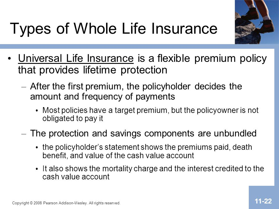 Copyright © 2008 Pearson Addison-Wesley. All rights reserved. 11-22 Types of Whole Life Insurance Universal Life Insurance is a flexible premium polic