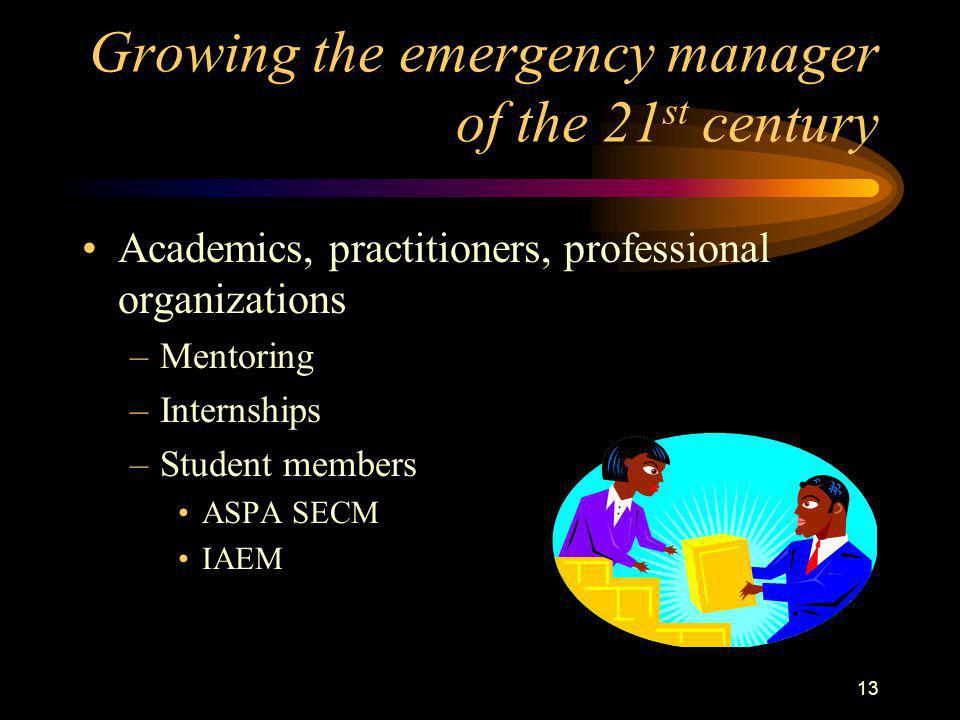 13 Growing the emergency manager of the 21 st century Academics, practitioners, professional organizations –Mentoring –Internships –Student members ASPA SECM IAEM