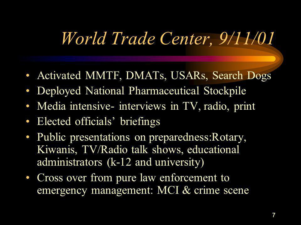 7 World Trade Center, 9/11/01 Activated MMTF, DMATs, USARs, Search Dogs Deployed National Pharmaceutical Stockpile Media intensive- interviews in TV, radio, print Elected officials' briefings Public presentations on preparedness:Rotary, Kiwanis, TV/Radio talk shows, educational administrators (k-12 and university) Cross over from pure law enforcement to emergency management: MCI & crime scene