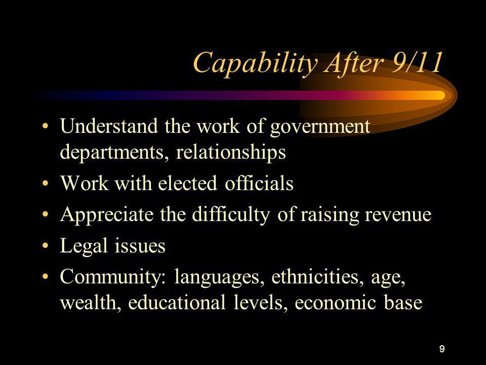 9 Capability After 9/11 Understand the work of government departments, relationships Work with elected officials Appreciate the difficulty of raising