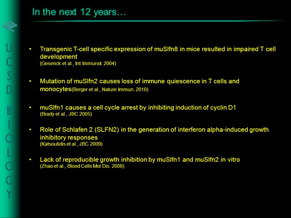 Transgenic T-cell specific expression of muSlfn8 in mice resulted in impaired T cell development (Geserick et al., Int Immunol. 2004) Mutation of muSl