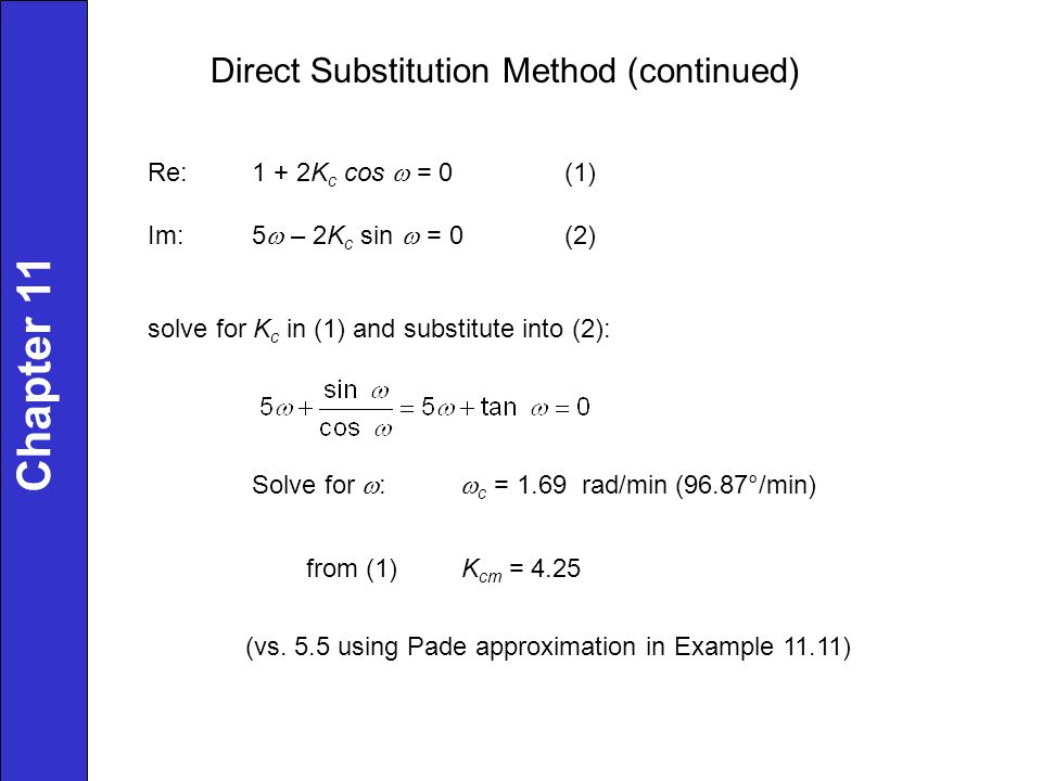 Direct Substitution Method (continued) Re:1 + 2K c cos  = 0(1) Im:5  – 2K c sin  = 0(2) solve for K c in (1) and substitute into (2): Solve for  :