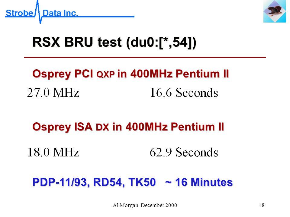 Al Morgan December 200018 RSX BRU test (du0:[*,54]) Osprey PCI QXP in 400MHz Pentium II Osprey ISA DX in 400MHz Pentium II PDP-11/93, RD54, TK50 ~ 16 Minutes