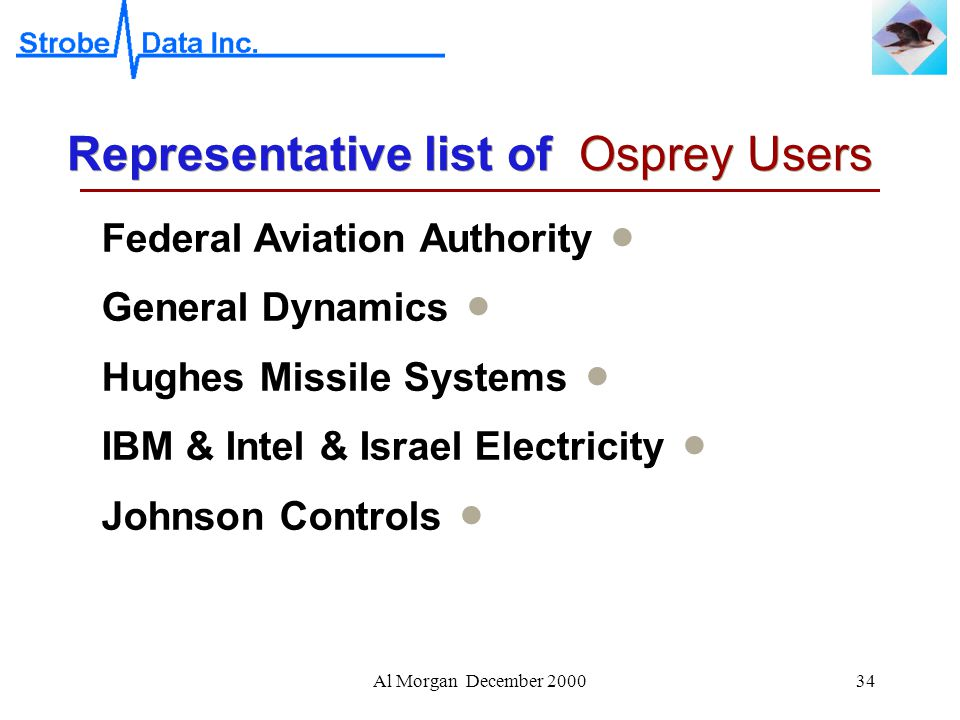 Al Morgan December 200034 Representative list of Osprey Users  Federal Aviation Authority  General Dynamics  Hughes Missile Systems  IBM & Intel & Israel Electricity  Johnson Controls