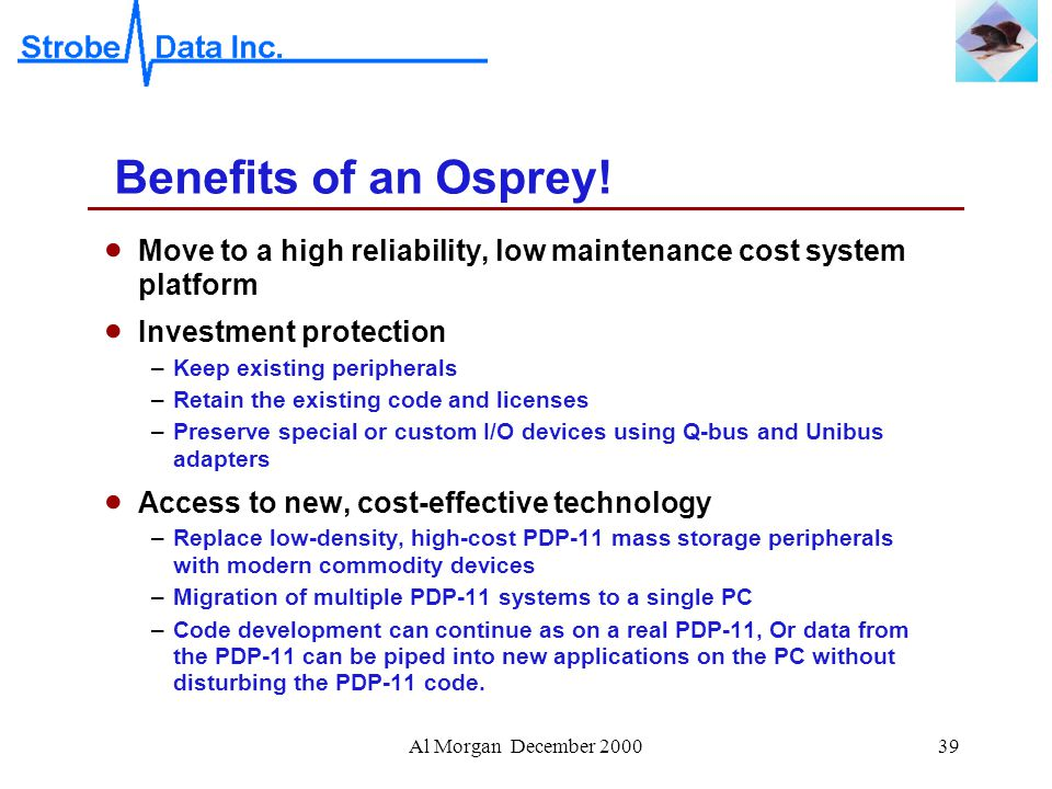 Al Morgan December 200039 Benefits of an Osprey.