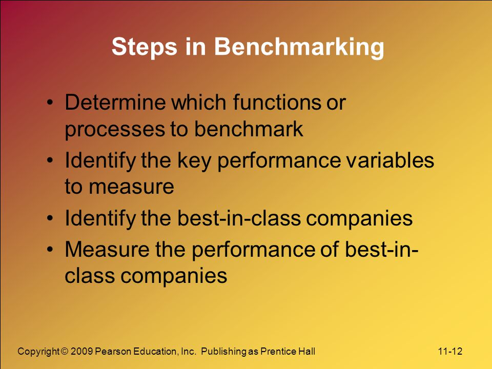 Copyright © 2009 Pearson Education, Inc. Publishing as Prentice Hall 11-12 Steps in Benchmarking Determine which functions or processes to benchmark I