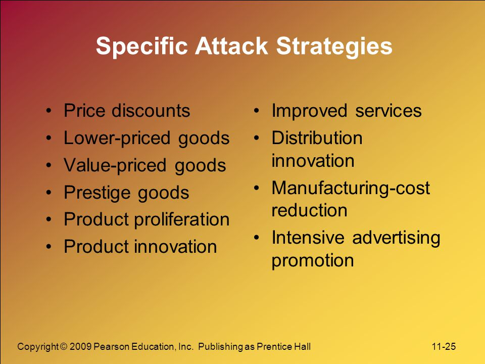 Copyright © 2009 Pearson Education, Inc. Publishing as Prentice Hall 11-25 Specific Attack Strategies Price discounts Lower-priced goods Value-priced