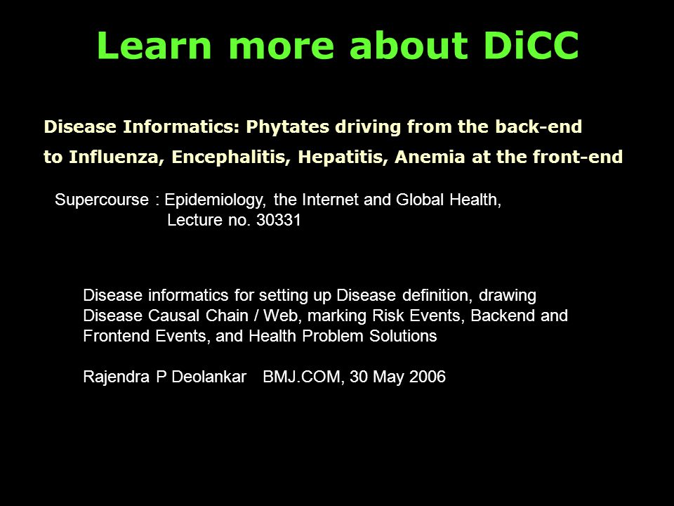 Learn more about DiCC Supercourse : Epidemiology, the Internet and Global Health, Lecture no.