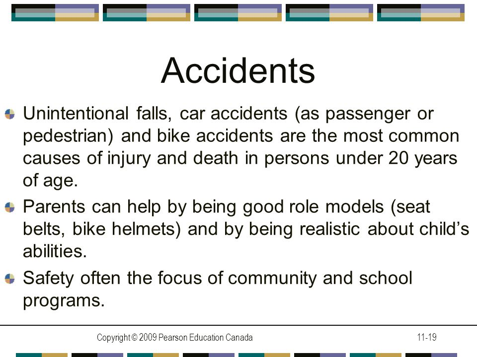 Copyright © 2009 Pearson Education Canada11-19 Accidents Unintentional falls, car accidents (as passenger or pedestrian) and bike accidents are the most common causes of injury and death in persons under 20 years of age.