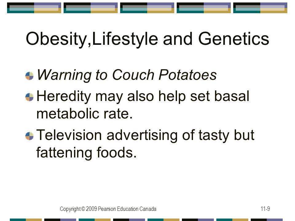 Copyright © 2009 Pearson Education Canada11-9 Obesity,Lifestyle and Genetics Warning to Couch Potatoes Heredity may also help set basal metabolic rate