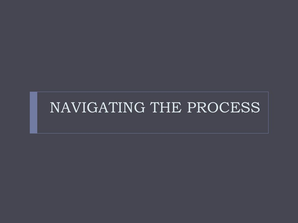 NAVIGATING THE PROCESS