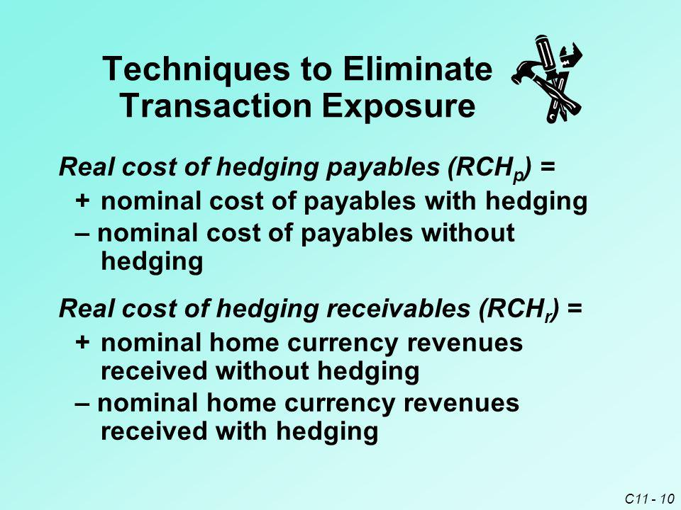C11 - 10 Real cost of hedging payables (RCH p ) = +nominal cost of payables with hedging – nominal cost of payables without hedging Real cost of hedgi