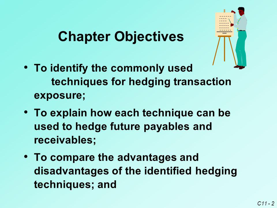 C11 - 2 Chapter Objectives To identify the commonly used techniques for hedging transaction exposure; To explain how each technique can be used to hed
