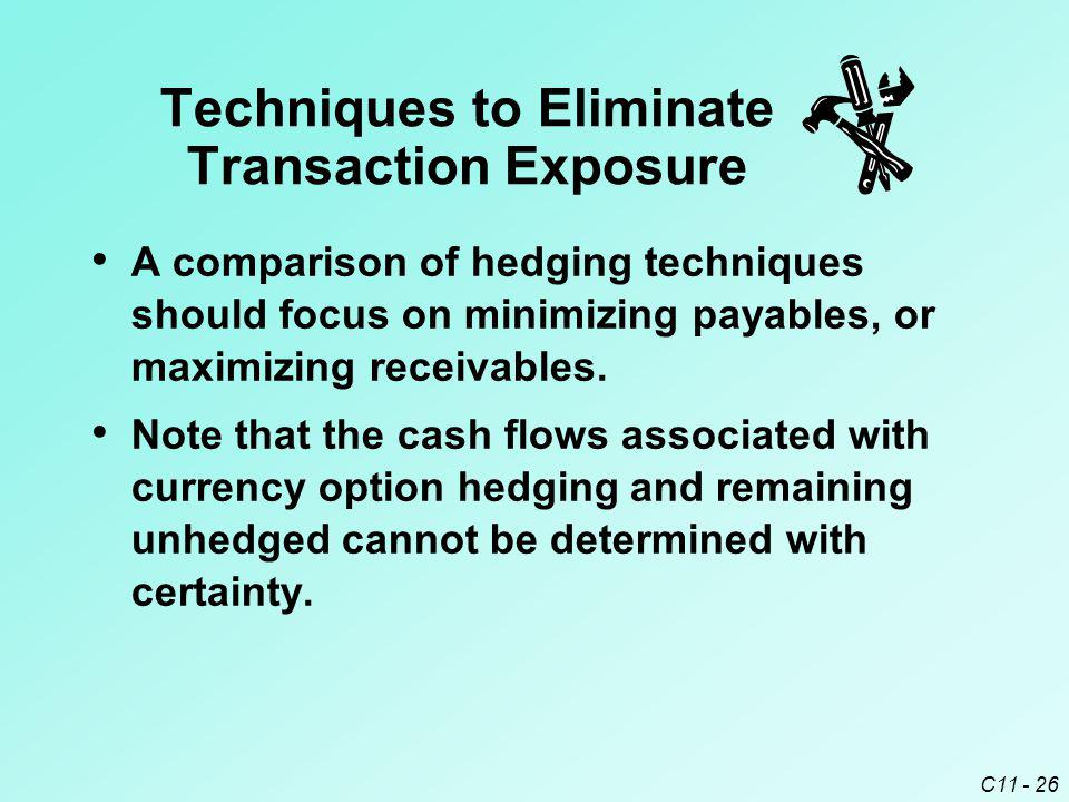 C11 - 26 A comparison of hedging techniques should focus on minimizing payables, or maximizing receivables. Note that the cash flows associated with c
