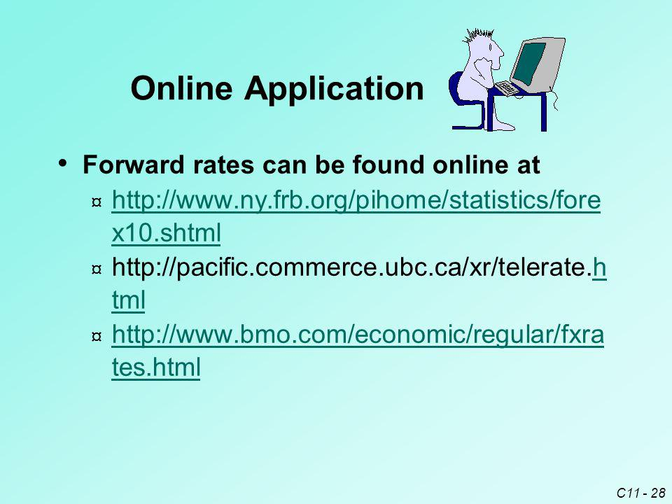 C11 - 28 Forward rates can be found online at ¤ http://www.ny.frb.org/pihome/statistics/fore x10.shtml http://www.ny.frb.org/pihome/statistics/fore x1