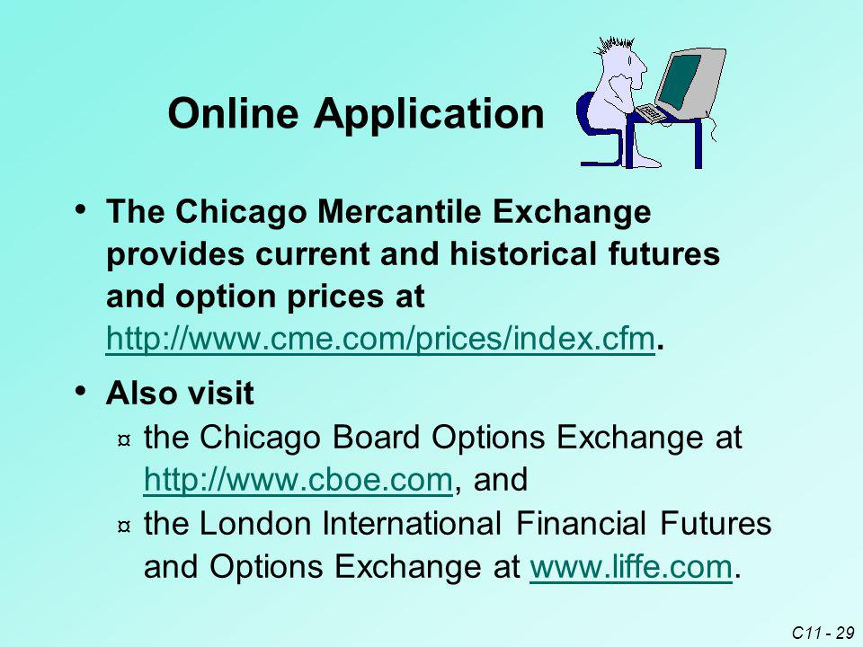 C11 - 29 The Chicago Mercantile Exchange provides current and historical futures and option prices at http://www.cme.com/prices/index.cfm. http://www.