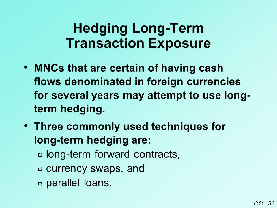 C11 - 33 Hedging Long-Term Transaction Exposure MNCs that are certain of having cash flows denominated in foreign currencies for several years may att