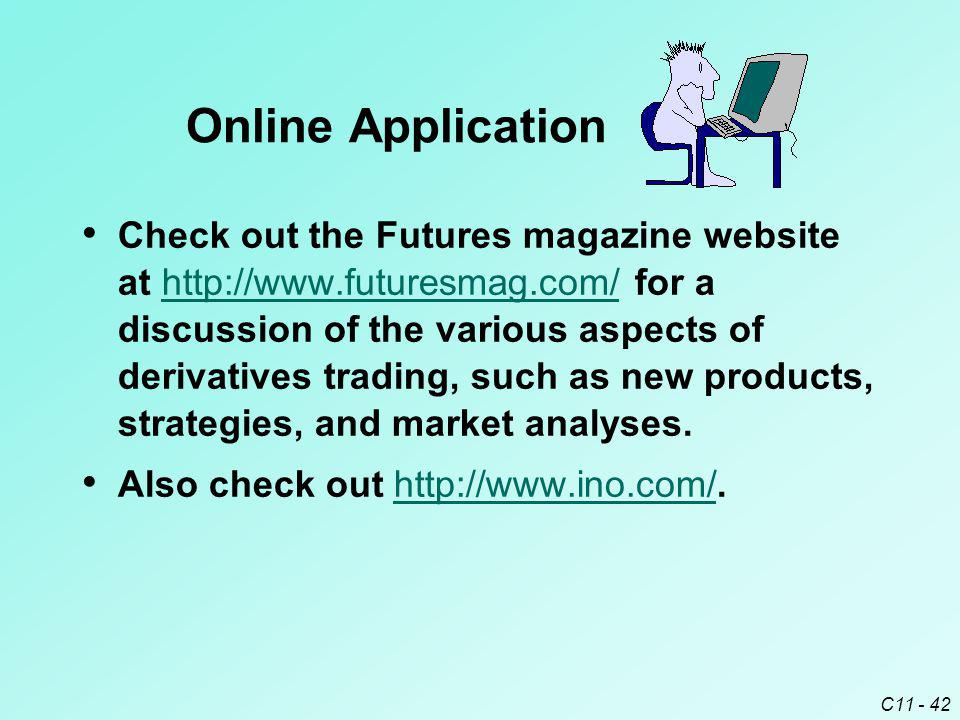 C11 - 42 Check out the Futures magazine website at http://www.futuresmag.com/ for a discussion of the various aspects of derivatives trading, such as