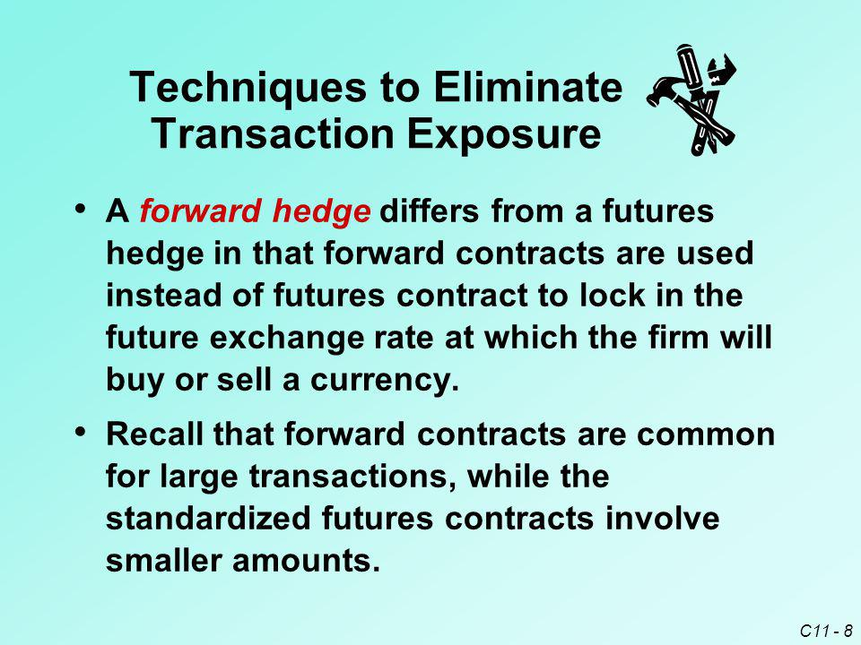 C11 - 8 A forward hedge differs from a futures hedge in that forward contracts are used instead of futures contract to lock in the future exchange rat