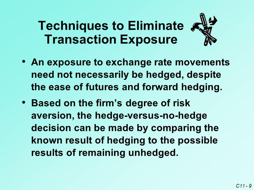 C11 - 9 An exposure to exchange rate movements need not necessarily be hedged, despite the ease of futures and forward hedging. Based on the firm's de