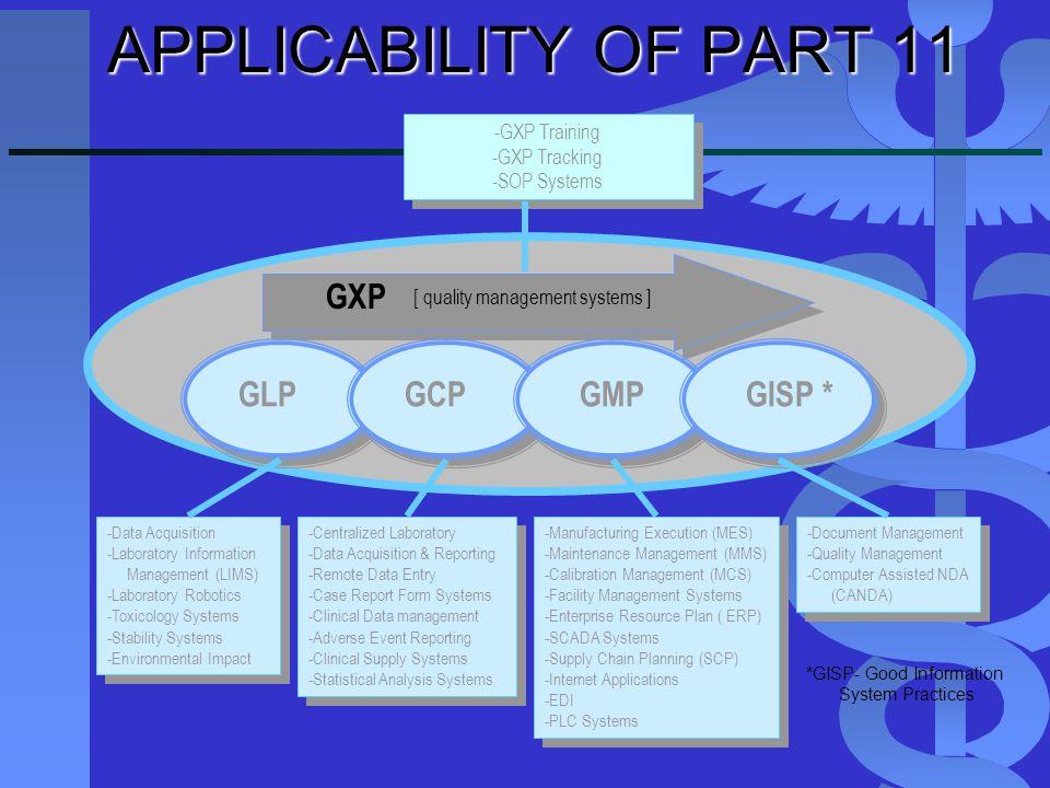 -Manufacturing Execution (MES) -Maintenance Management (MMS) -Calibration Management (MCS) -Facility Management Systems -Enterprise Resource Plan ( ER