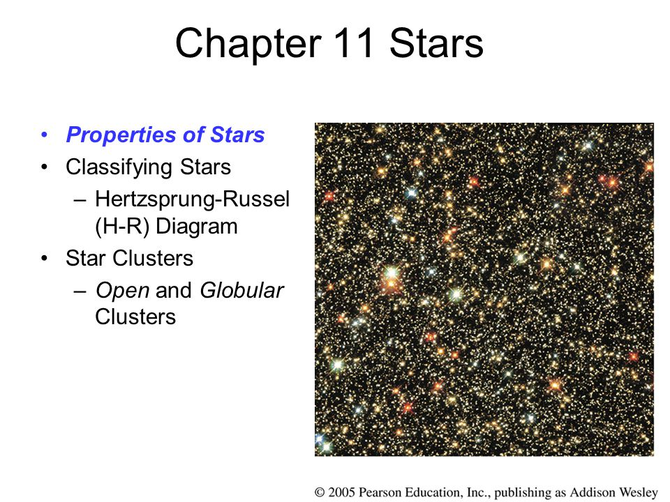 Chapter 11 Stars Properties of Stars Classifying Stars –Hertzsprung-Russel (H-R) Diagram Star Clusters –Open and Globular Clusters