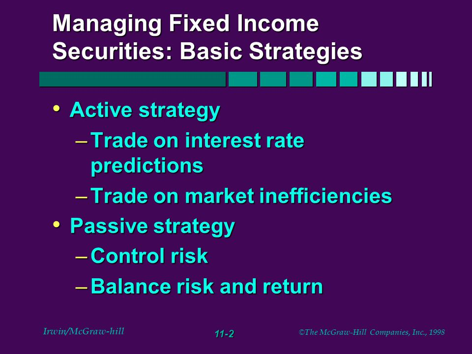11-2 Irwin/McGraw-hill © The McGraw-Hill Companies, Inc., 1998 Managing Fixed Income Securities: Basic Strategies Active strategy Active strategy –Trade on interest rate predictions –Trade on market inefficiencies Passive strategy Passive strategy –Control risk –Balance risk and return