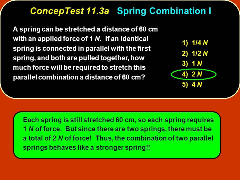 A spring can be stretched a distance of 60 cm with an applied force of 1 N.