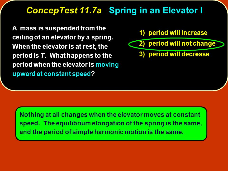 A mass is suspended from the ceiling of an elevator by a spring. When the elevator is at rest, the period is T. What happens to the period when the el