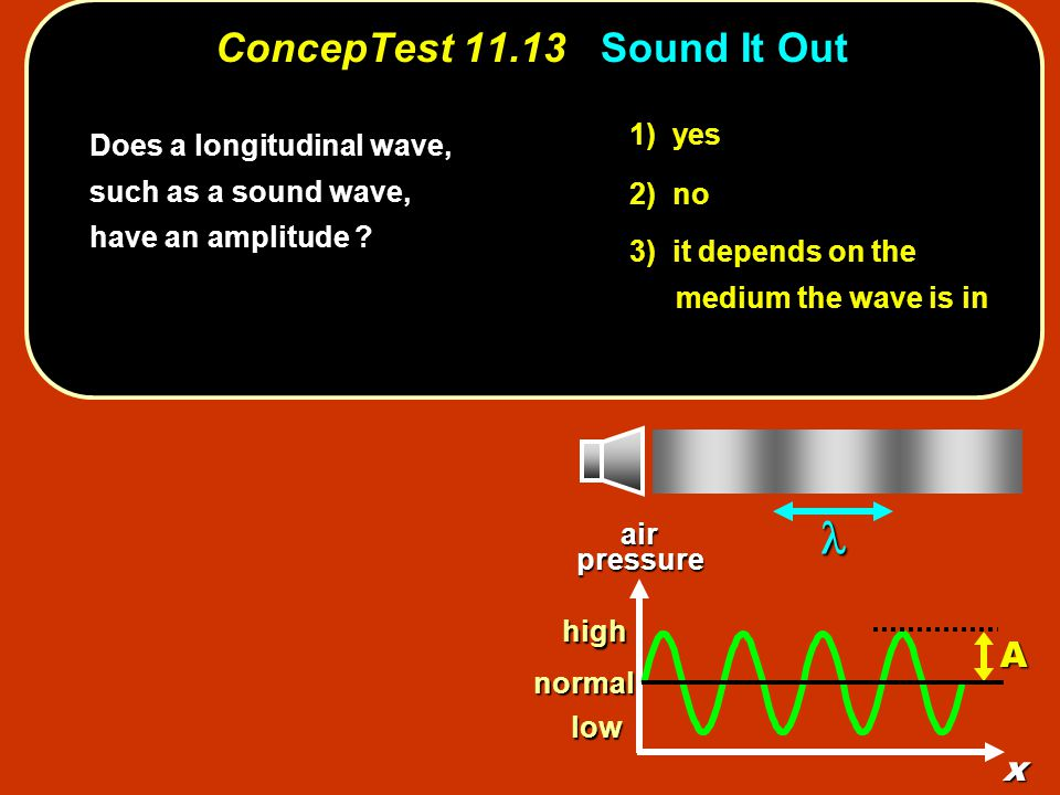 1) yes 2) no 3) it depends on the medium the wave is in ConcepTest 11.13Sound It Out ConcepTest 11.13 Sound It Out Does a longitudinal wave, such as a sound wave, have an amplitude .