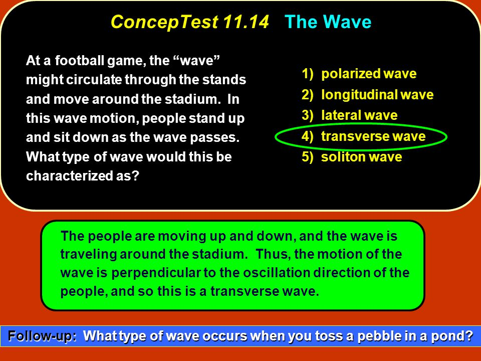 At a football game, the wave might circulate through the stands and move around the stadium.
