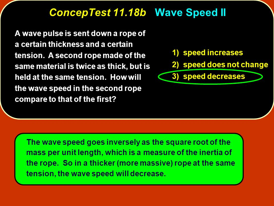 A wave pulse is sent down a rope of a certain thickness and a certain tension.