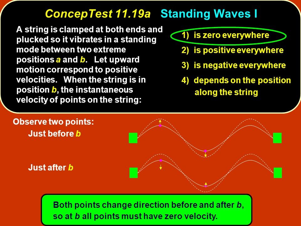 Observe two points: Just before b Just after b Both points change direction before and after b, so at b all points must have zero velocity. ConcepTest