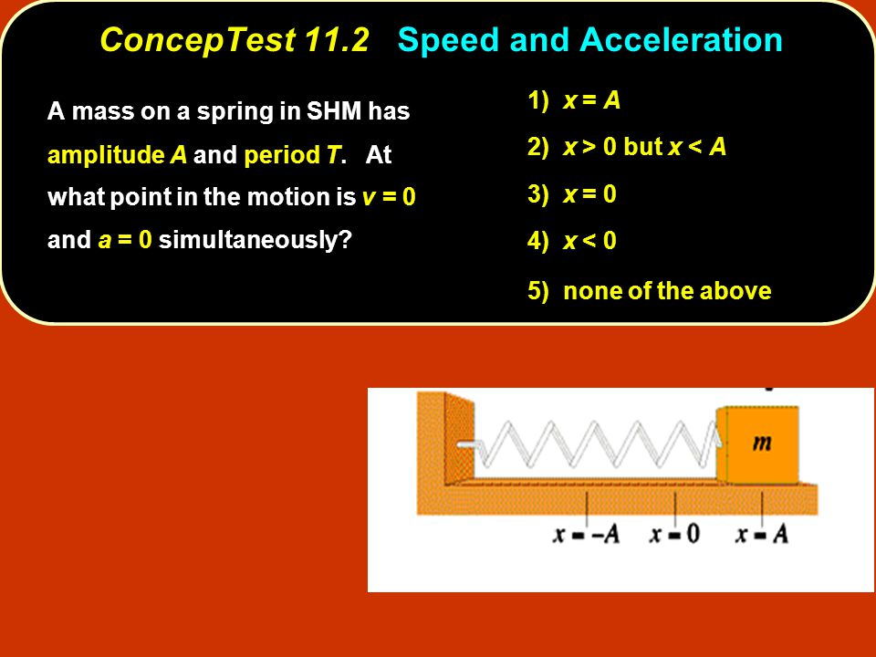 ConcepTest 11.2 ConcepTest 11.2 Speed and Acceleration 1) x = A 2) x > 0 but x < A 3) x = 0 4) x < 0 5) none of the above A mass on a spring in SHM has amplitude A and period T.