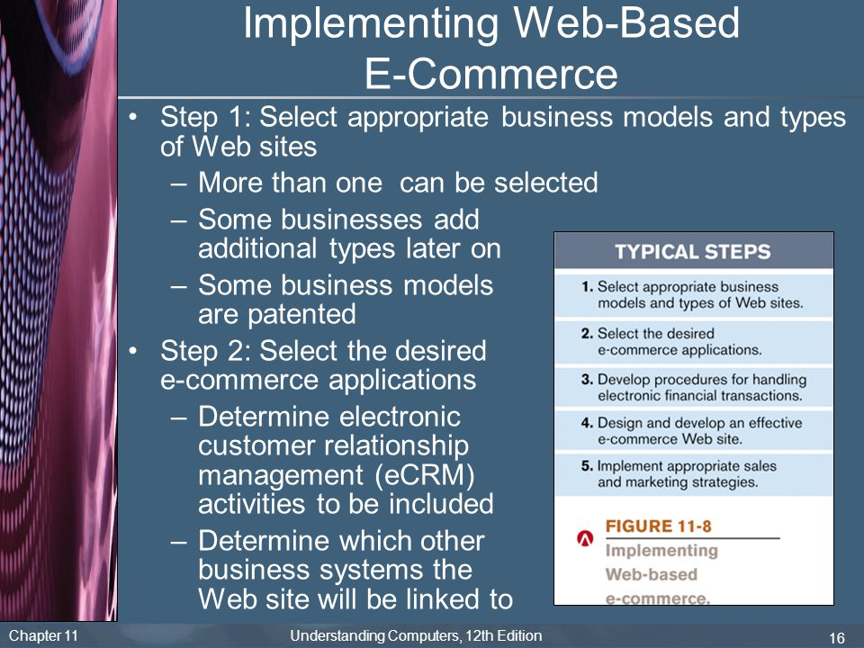 Chapter 11 Understanding Computers, 12th Edition 16 Implementing Web-Based E-Commerce Step 1: Select appropriate business models and types of Web site