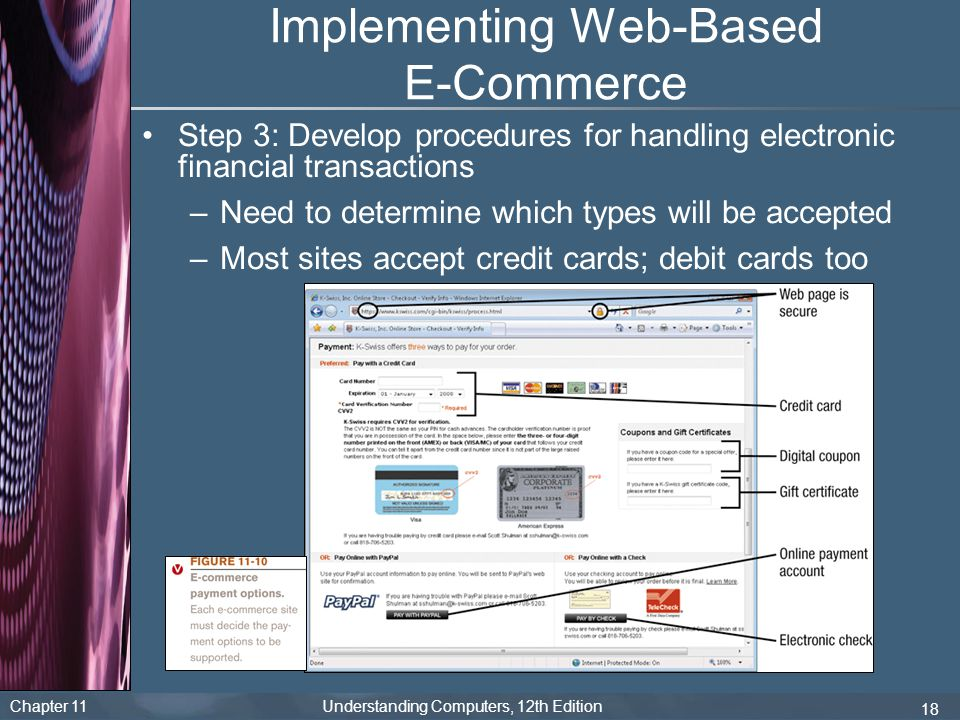 Chapter 11 Understanding Computers, 12th Edition 18 Implementing Web-Based E-Commerce Step 3: Develop procedures for handling electronic financial tra