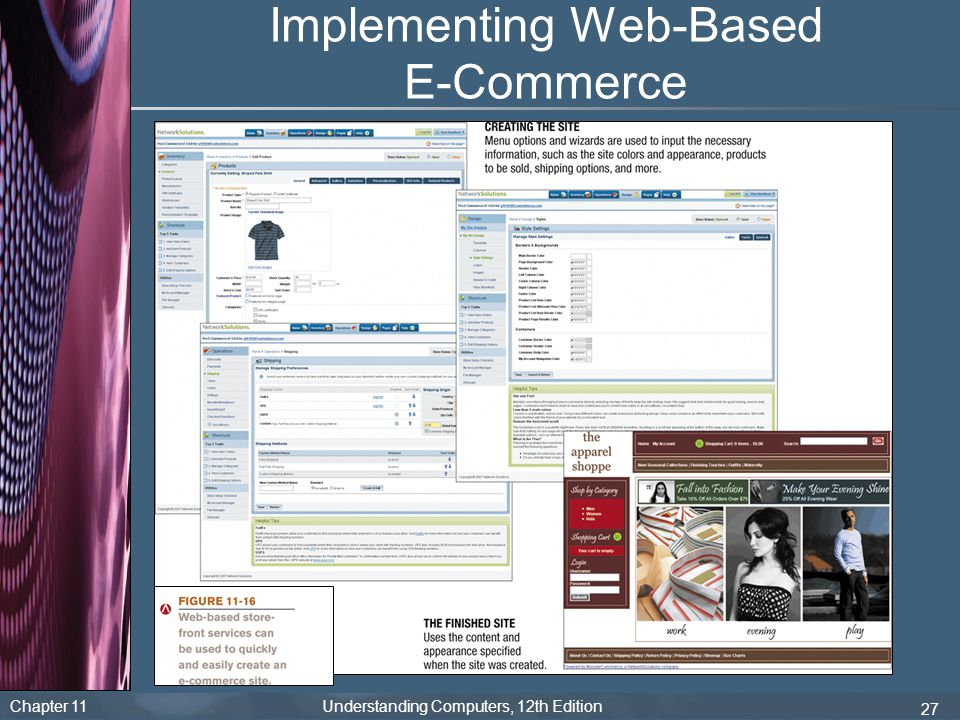 Chapter 11 Understanding Computers, 12th Edition 27 Implementing Web-Based E-Commerce