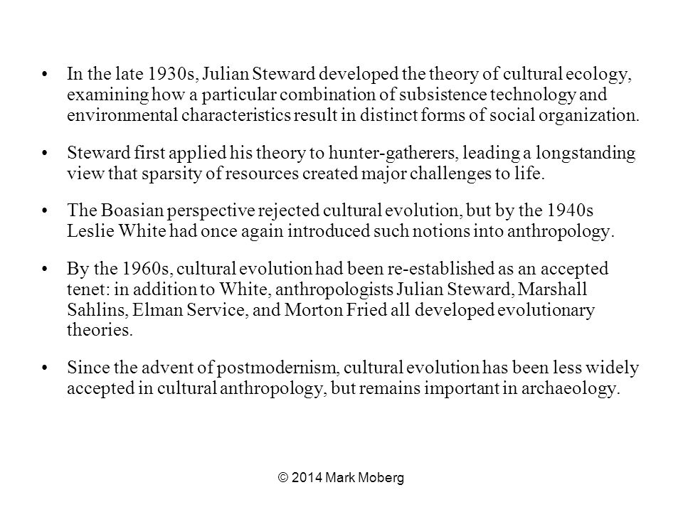 In the late 1930s, Julian Steward developed the theory of cultural ecology, examining how a particular combination of subsistence technology and environmental characteristics result in distinct forms of social organization.