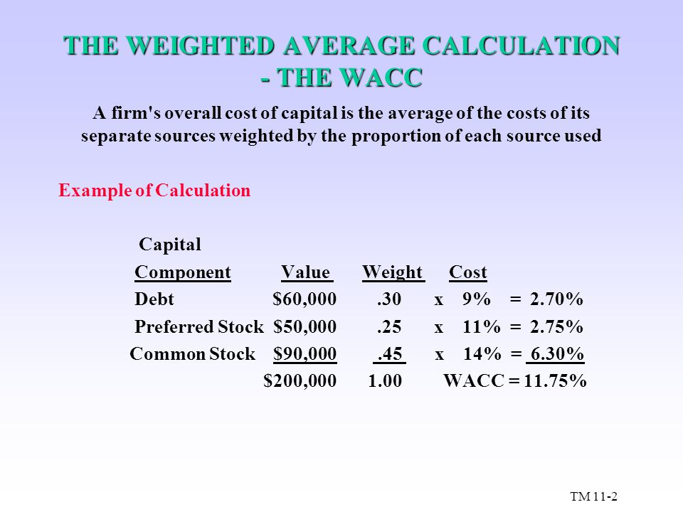 THE WEIGHTED AVERAGE CALCULATION - THE WACC A firm's overall cost of capital is the average of the costs of its separate sources weighted by the propo