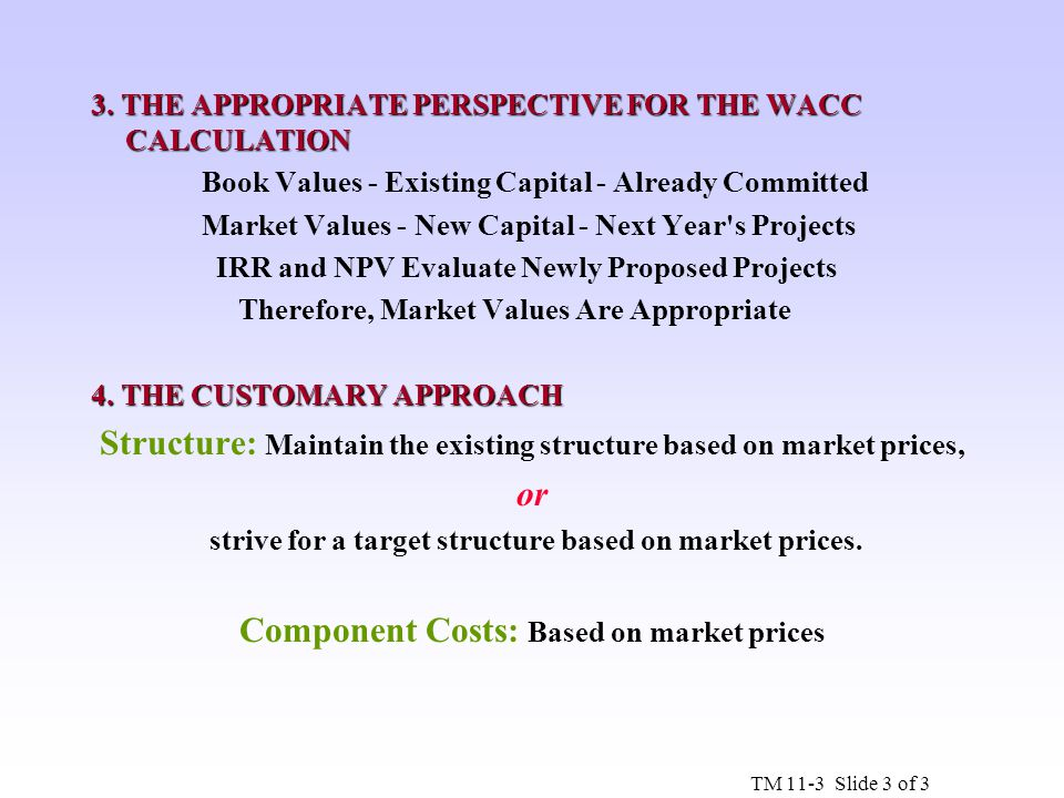 3. THE APPROPRIATE PERSPECTIVE FOR THE WACC CALCULATION Book Values - Existing Capital - Already Committed Market Values - New Capital - Next Year's P