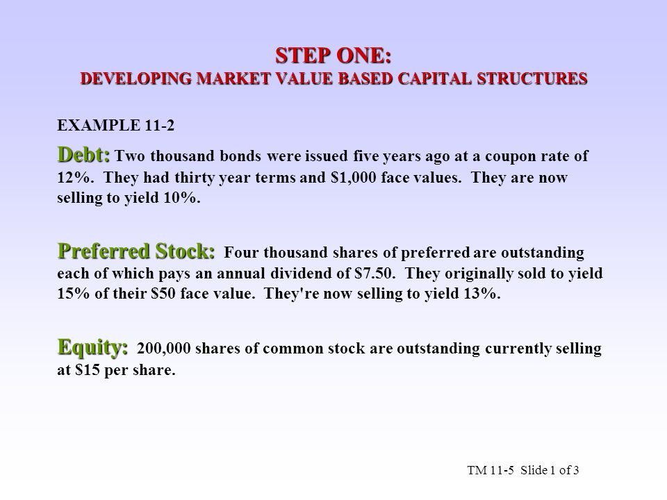 STEP ONE: DEVELOPING MARKET VALUE BASED CAPITAL STRUCTURES EXAMPLE 11-2 Debt: Debt: Two thousand bonds were issued five years ago at a coupon rate of