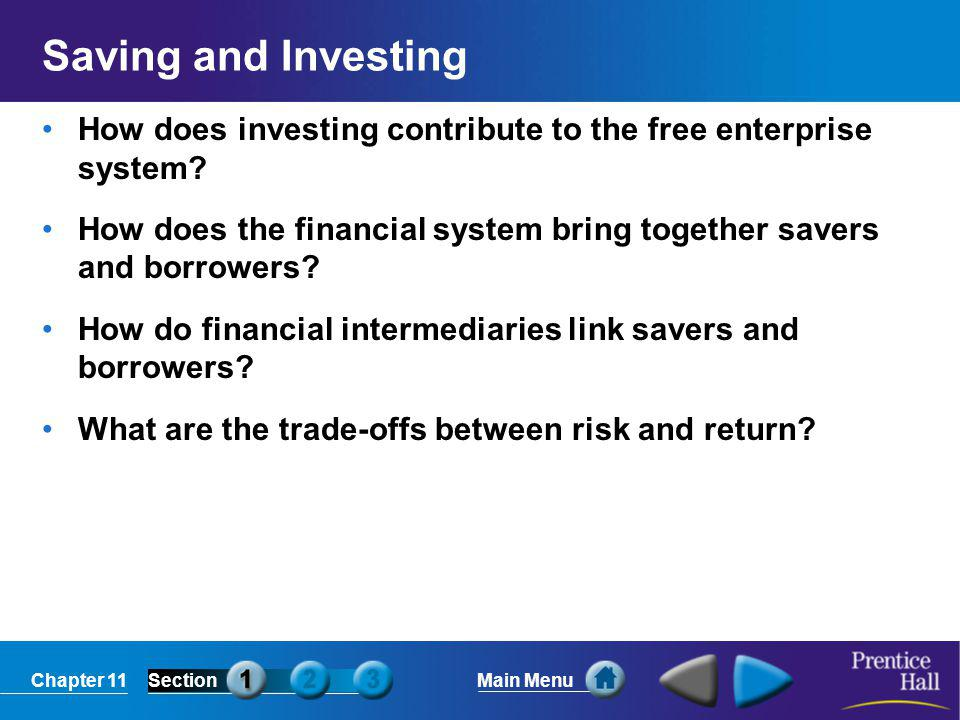 Chapter 11SectionMain Menu Saving and Investing How does investing contribute to the free enterprise system? How does the financial system bring toget