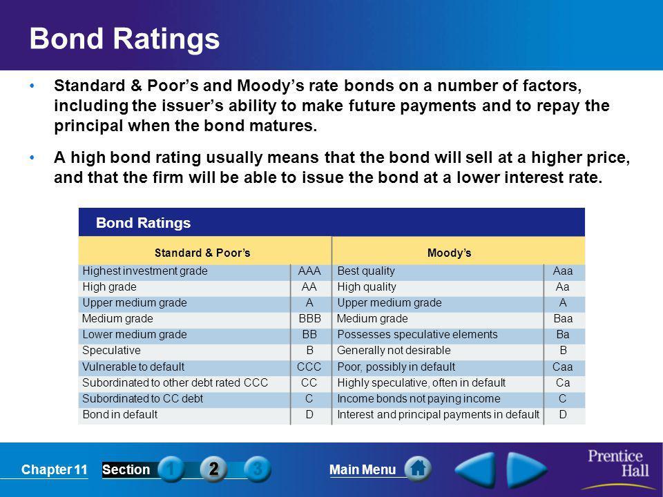 Chapter 11SectionMain Menu Bond Ratings Standard & Poor's Highest investment grade High grade Upper medium grade Medium grade Lower medium grade Specu