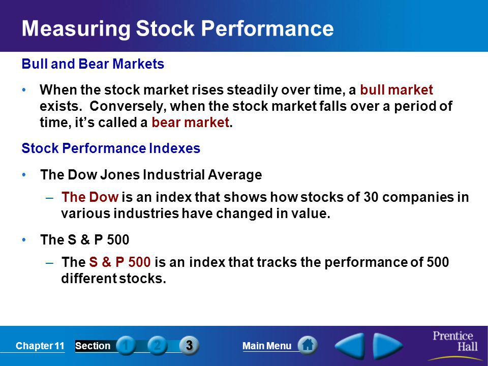 Chapter 11SectionMain Menu Measuring Stock Performance Bull and Bear Markets When the stock market rises steadily over time, a bull market exists. Con