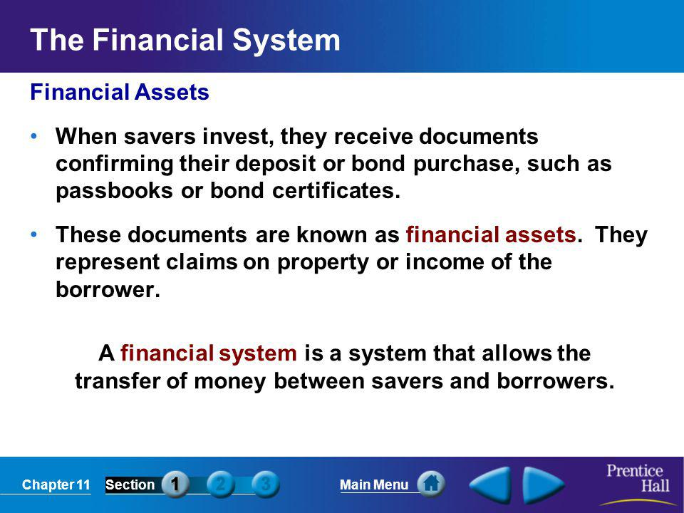 Chapter 11SectionMain Menu A financial system is a system that allows the transfer of money between savers and borrowers. The Financial System Financi