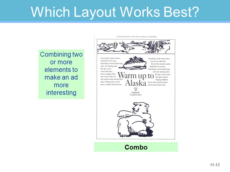 11-13 Which Layout Works Best? Combining two or more elements to make an ad more interesting Combo